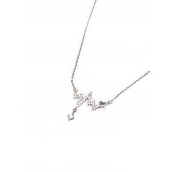 Collar de Plata frecuencia cardíaca micropavé,corazón, cubic 20mm 40cm