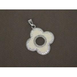 Dije de Acero flor con microperla y cubic 35mm