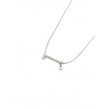 Collar de Plata barrita con micropavé, estrella, cubic 20mm 40cm