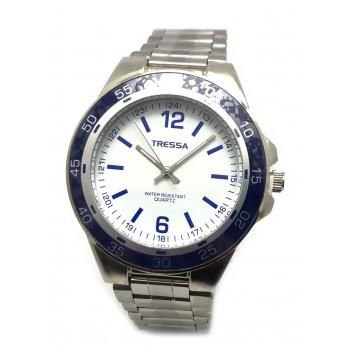 Reloj tressa acero fondo blanco borde azul 40mm
