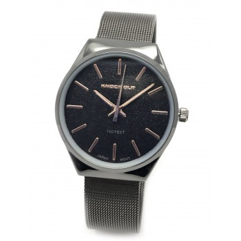 Reloj malla tejida negro agujas rosse 34mm