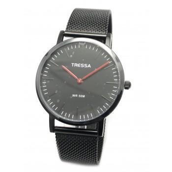 Reloj tressa malla metal tejida negro detalle rojo 40mm