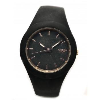Reloj malla caucho negro centro negro y rosse 40mm