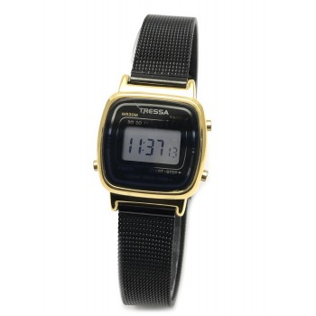 Reloj tressa retro dorado metal negro 24mm