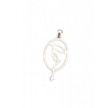 Dije de plata rosario con virgen 34mm