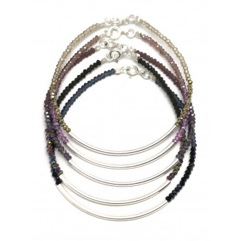 Pulsera de plata mini critales degrade 2mm 18cm