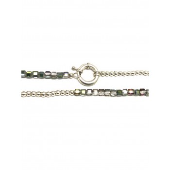 Collar de plata bolitas cristal 5mm 45cm