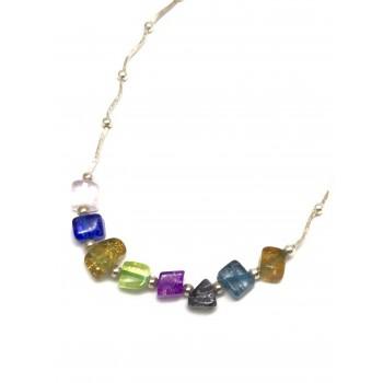 Collar de Plata bolitas y piedras multicolores 45cm