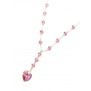 Collar de Plata cristal 7mm rosa corazon 45cm