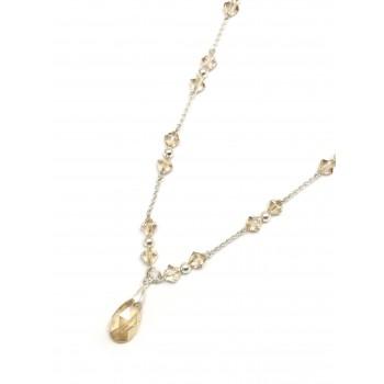 Collar de Plata colores cristal gota 45cm
