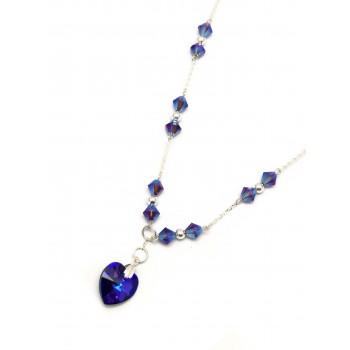 Collar de Plata cristal 7mm colores corazon 45cm