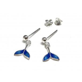 Aros de Plata colgantes cola de sirena azul 11mm