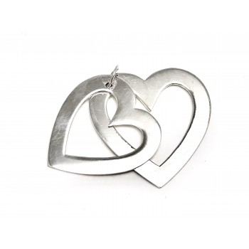 Dije de Plata doble corazon 25mm