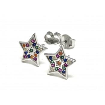 Aros de Plata estrella cubic multicolor 12mm
