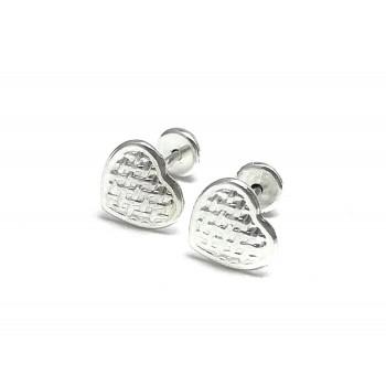 Abridores Enchapados en Plata corazón labrado 7mm