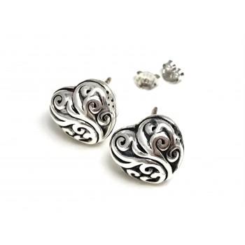 Aros de plata inflado corazón con arabescos 15mm