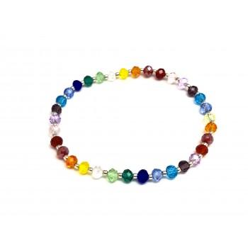 Pulsera de Plata extensible colores cristal bolitas 4mm