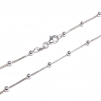 Cadena de plata veneciana con bolitas 1mm 45cm