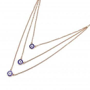 Cadena de Plata rosse triple con dije circulo micropave azul 45cm