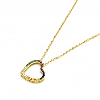 Cadena de Plata dorada dije corazon micropave multicolor 45cm
