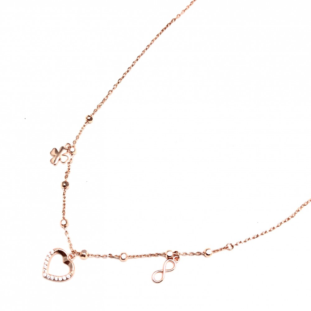 Cadena de Plata rosse bolitas, trebol, infinito y corazon micropave 40cm