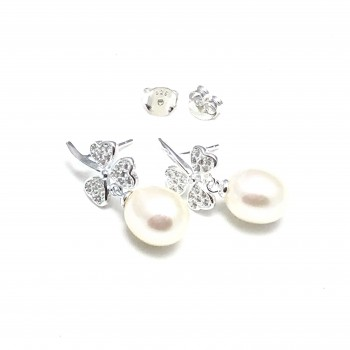 Aros de Plata de Plata perlas con trébol micropave
