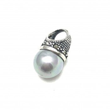 Dije lady di perla gris 18mm