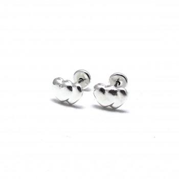 Aros de Plata abridores doble corazon 7mm