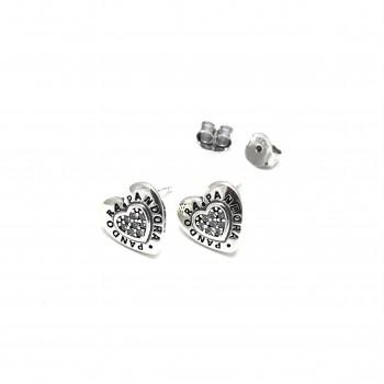 Aros de Plata Pandora corazon con centro micropavé 10mm