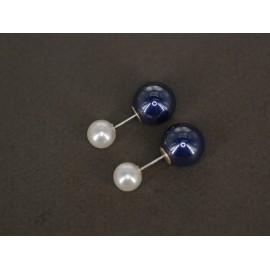Aros de Plata dior doble perla 8mm 12mm