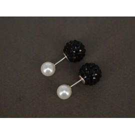 Aros de Plata dior perla con poxi color 8mm 12mm