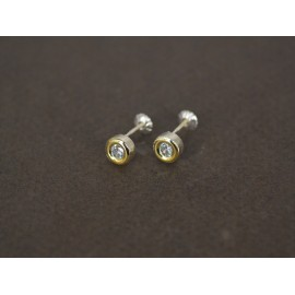 Aros de Plata con Duble boton con cubic a rosca 6mm