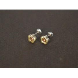 Aros de Plata con Duble flor cubic 8mm