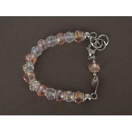 Pulsera de acero con piedras facetadas blanca y rosa 21cm