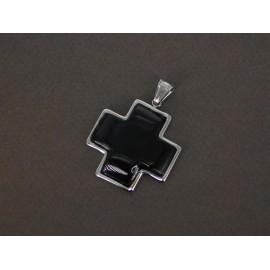 Dije de Acero Cruz equilibrio piedra negra 35mm