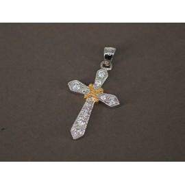Dije de Plata con Duble cruz micropave 25mm