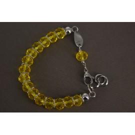Pulsera de Acero piedra faceta amarilla 22cm