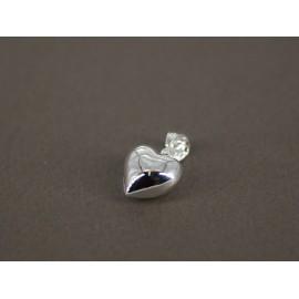 Dije de Acero plateado corazón inflado 15mm