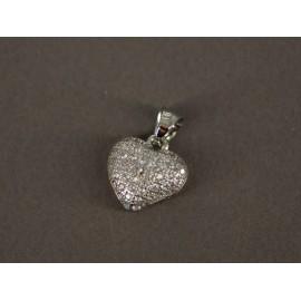 Dije de Acero corazón con cubic 10mm