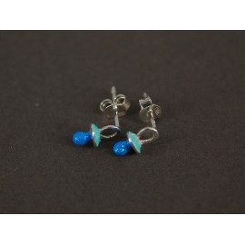 Aros de Plata chupete azul 10mm